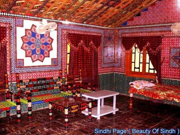 Colourful Traditional Drawing Room in Sindh Province Pakistan