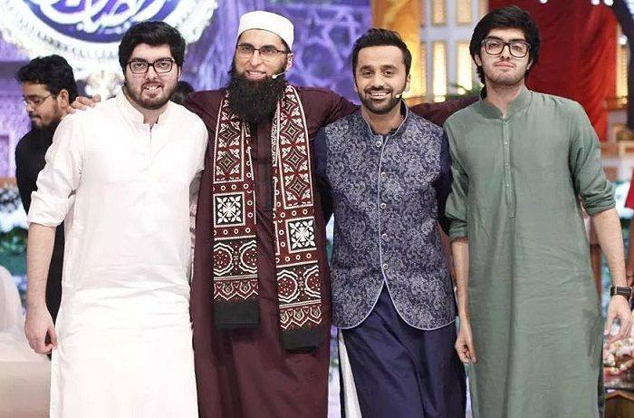 Junaid Jamshed With His Son & Waseem Badami