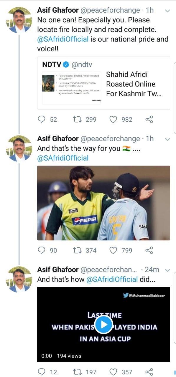 Maj Gen Asif Ghafoor Chitrols Indian Media