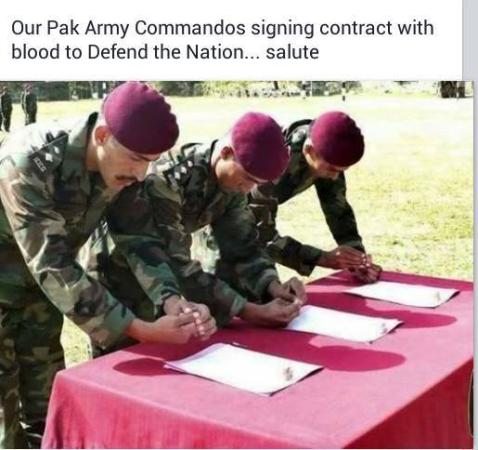 Pak Army Commandos Signing Contract With Blood