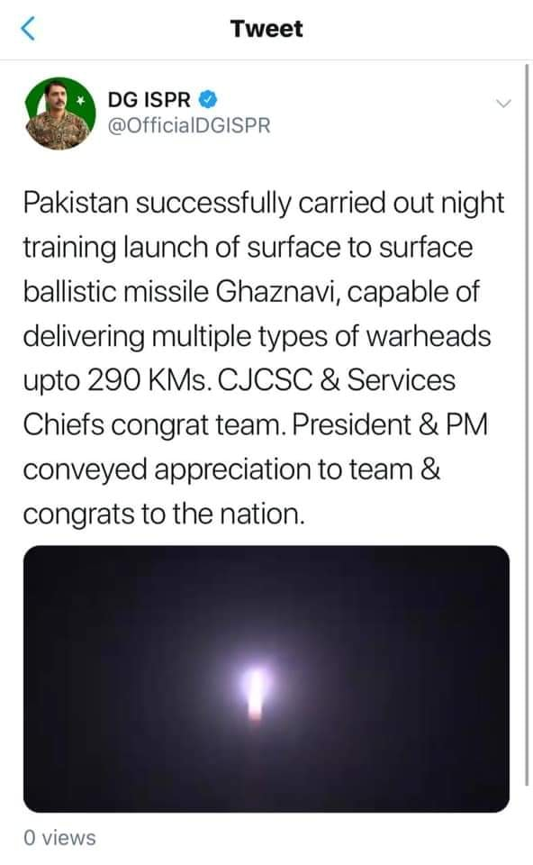 Pakistan Successfully Carries Out Night Training Launch Of Ghaznavi Missile