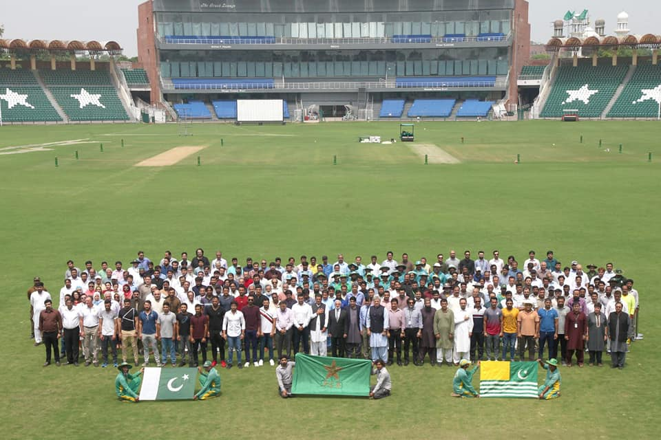Pakistani Cricketers Showing Solidarity With Kashmir At Gaddafi Stadium, Lahore