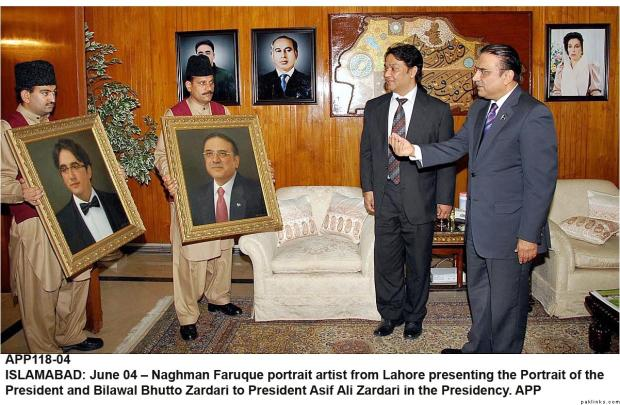 President Zardari and Bilawal Bhutto Portrait by Naghman Faruque