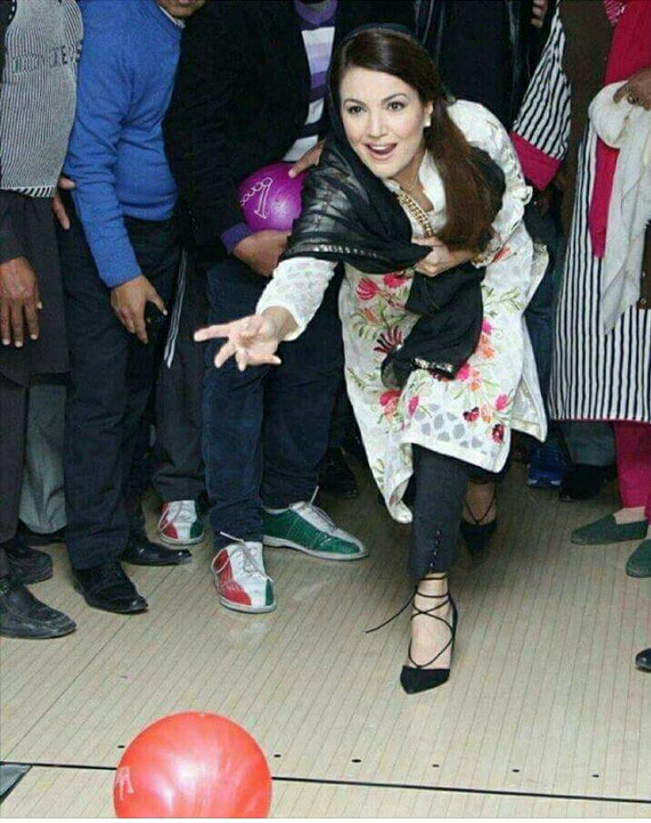 Reham Khan playing ten pin Bowling
