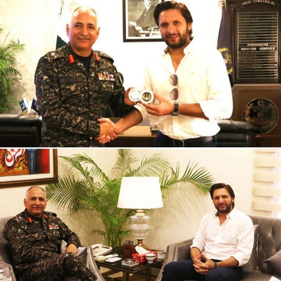 Shahid Afridi Met Lt.Gen Zafar At His Office
