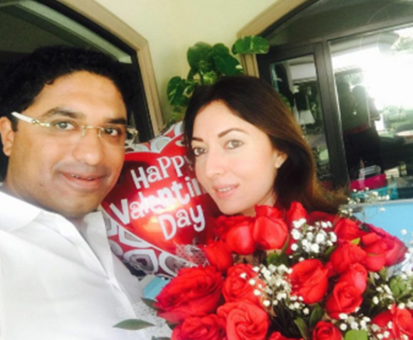 Sharmeela Farooqui with her husband celebrating valentines Day