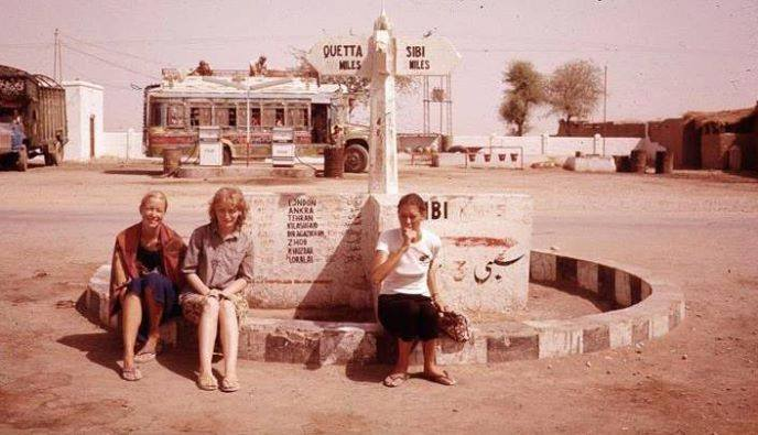Western Tourists Wait At Bus Stand In Sibi Balochistan 1975