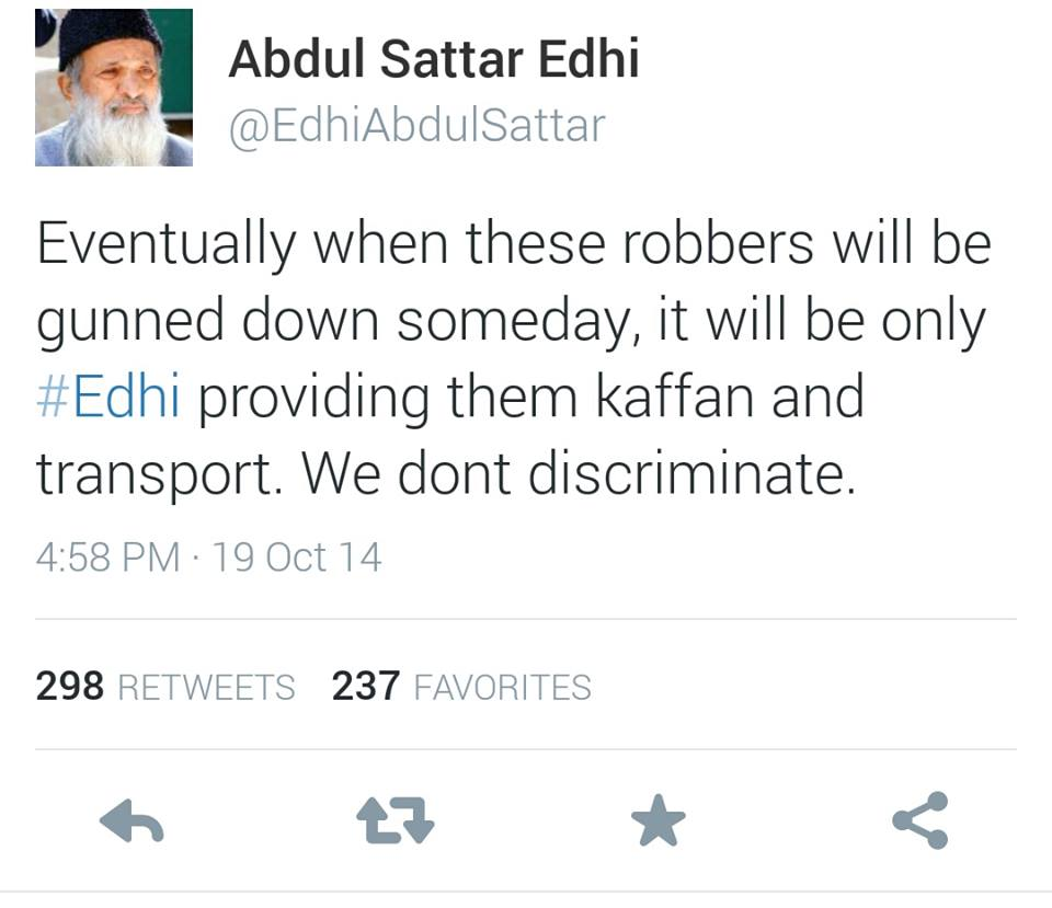 Abdul Sattar Edhi Tweets For Robbers