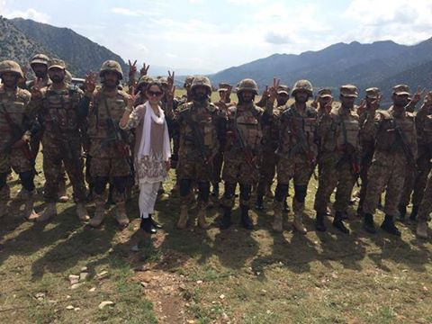 Gharida Farooqi With Troops in Forward Operating Area