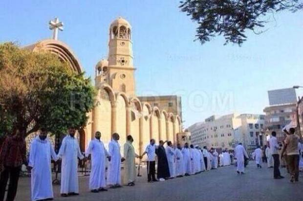 Muslims protecting a Christian Church in Egypt