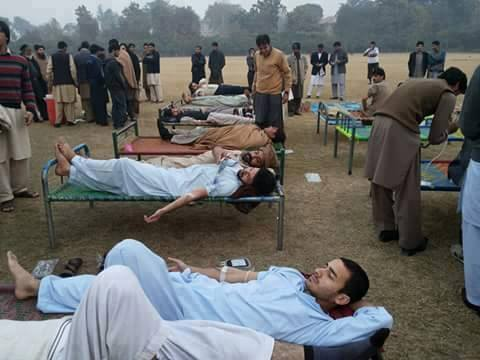 People Donating Blood For Injured Students Of Peshawar Army School