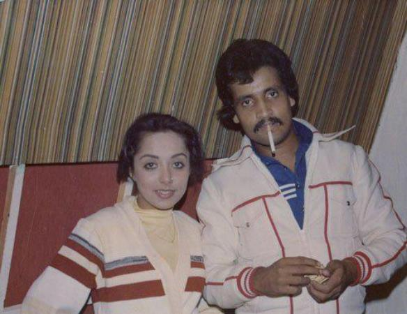 Umar Sharif with actress model Arzoo in 1978