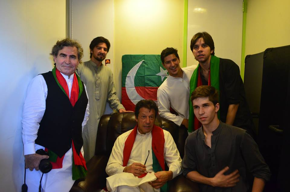 Imran Khan With His Relatives After Eid prayers inside Azadi Bus