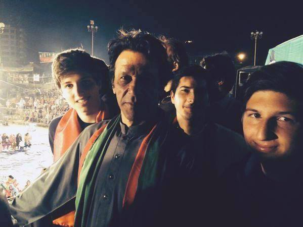 Imran Khan With Son At Dharna