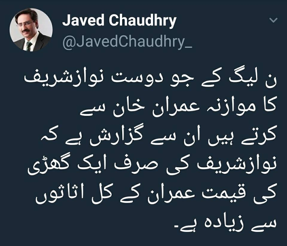 Javed Chaudhry Recent Tweet In Favor Of Imran Khan