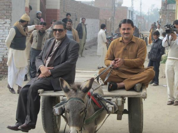 Journalist Sohail Waraich on a Donkey Cart with Jamshed Dasti