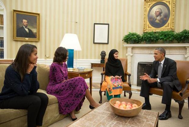 Malala meets US President Obama