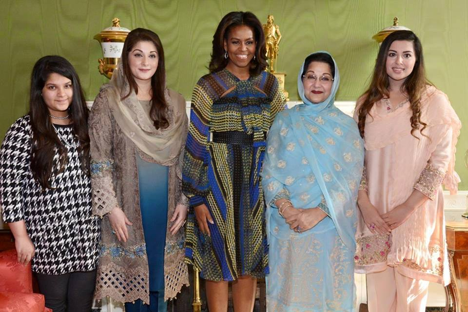 Maryam Nawaz Kalsoom Nawaz with Michelle Obama