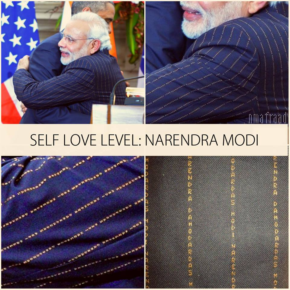 Narendra Modi Suit With His Own Name Stripes