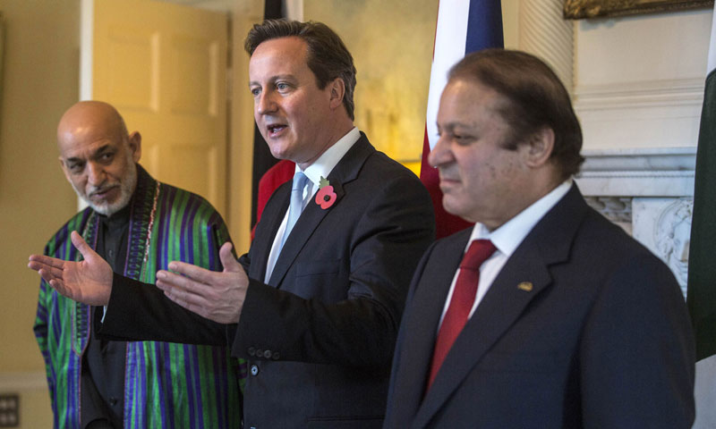 PM Nawaz Sharif Met British PM David Cameron And Afghan President Hamid Karzai