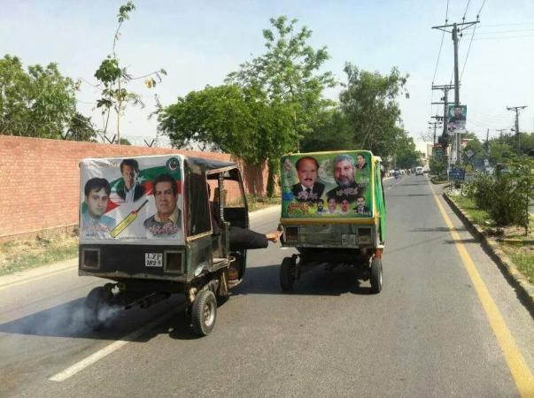 PTI And PMLN Rickshaw Art