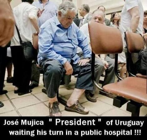 President of Uruguay Jose Mujica waiting for his turn in public Hospital