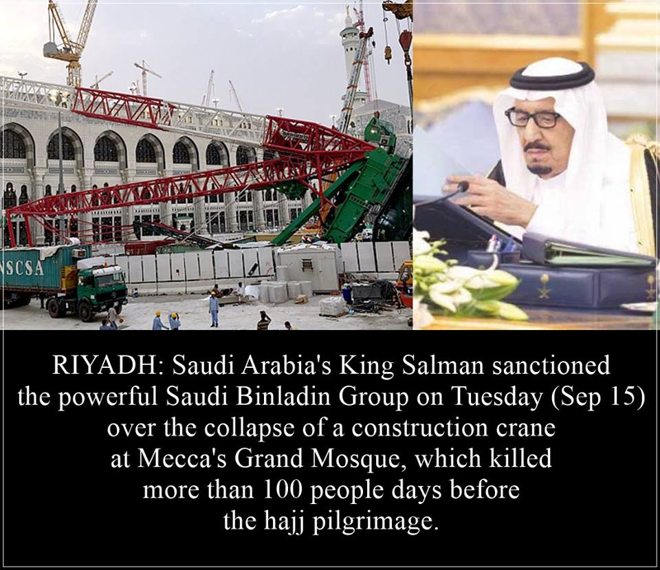 Saudi King Sanctioned Binladin Group on Mecca Crane Collapse