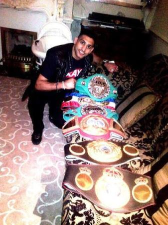 Boxer Amir Khan With His Winning Belts