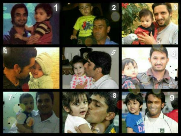 Cricketers with their kids