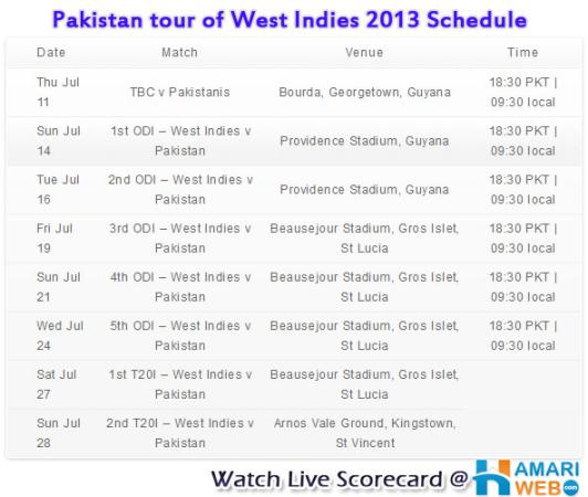 Pakistan Tour of West Indies 2013 Schedule.